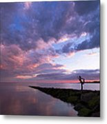 Yoga Dancer Asana On Beach Jetty Metal Print