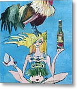 Yoga Girl With Cock - Bottle Of Wine And Egg Metal Print