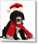 Yorkipoo Pup Wearing Christmas Hat Metal Print