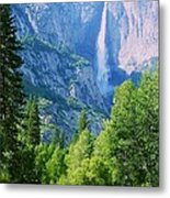 Yosemite Falls And Merced River Metal Print