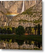 Yosemite Falls Moonbow Reflection Metal Print