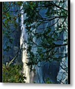 Yosemite Falls Through Trees Metal Print