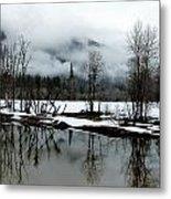 Yosemite River View In Snowy Winter Metal Print