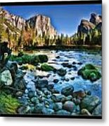 Yosemite Rocks In River Metal Print