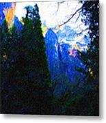 Yosemite Snow Mountain Tops . Vertical Cut Metal Print