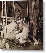 Young Boy Unwinding Silk Cocoons Metal Print by Everett