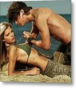 Young Couple On The Beach Metal Print