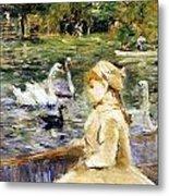 Young Girl Boating Metal Print by Berthe Morisot
