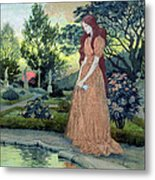 Young Girl In A Garden  Metal Print