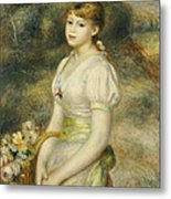 Young Girl With A Basket Of Flowers Metal Print