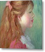 Young Girl With Long Hair In Profile Metal Print