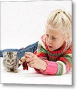 Young Girl With Silver Tabby Kitten Metal Print