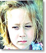 Young Girl's Expression Metal Print