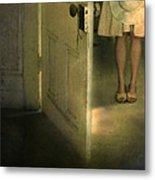 Young Lady By Open Door Metal Print