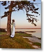 Young Lady In Edwardian Clothing By The Sea Metal Print