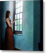 Young Lady Looking Out Window Metal Print
