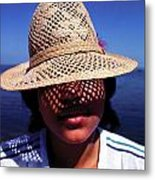 Young Lady With Straw Hat Metal Print