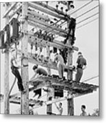 Young Men Working On Telephone Poles Metal Print