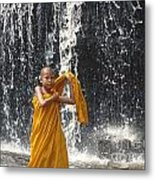 Young Monk In Front Of Waterfall Metal Print