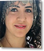 Young Palestinian In Traditional Dress In Bethlehem Metal Print