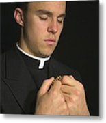 Young Priest Praying With Rosery Metal Print