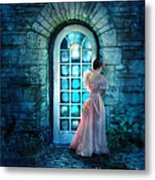 Young Woman Alone In Pink Gown  Metal Print
