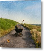 Young Woman And Baby Buggy On Dirt Road  Metal Print