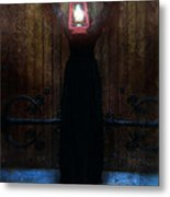 Young Woman In Black Lantern In Front Of Her Face Metal Print