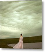 Young Woman In Long Gown By Pond Metal Print