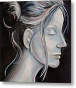 Young Woman In Profile-quick Self Study Metal Print