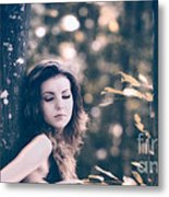 Young Woman In The Forest Metal Print by Gabriela Insuratelu