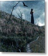 Young Woman On Creepy Path With Black Birds Overhead Metal Print