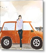 Young Woman Standing In Front Of Car Drinking Takeaway Coffee Metal Print by Eastnine Inc.