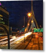 Zakim Bridge At Night Metal Print by Joann Vitali