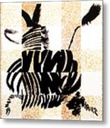Zebra In Flight Metal Print