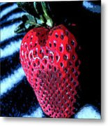 Zebra Strawberry Metal Print