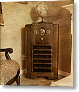 Zenith Consol Radio 1940's  Metal Print