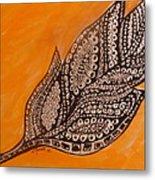 Zentangle Leaf Metal Print
