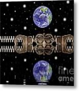 Zipper And Planets Metal Print