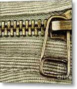 Zipper Detail Close Up Metal Print by Blink Images