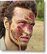 Zombie With Leech Metal Print