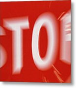 Zoom-effect Photo Of A Roadside Stop Sign Metal Print