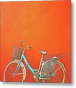 Blue Bike In Burano Italy Metal Print