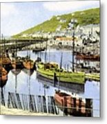1900 Harbour View Mousehole Cornwall England Metal Print