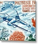 1965 French Polynesia Spearfishing Postage Stamp Metal Print