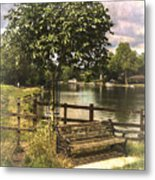 A Seat By The Thames Metal Print