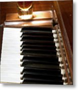 A Shot Of Bourbon Whiskey And The Black And White Piano Ivory K Metal Print
