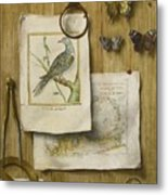 A Trompe L'oeil With Magnifying Glass Metal Print