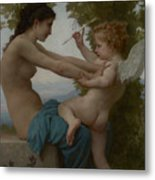 A Young Girl Defending Herself Against Eros Metal Print