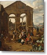 An Italianate Market Scene Metal Print